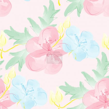 Seamless watercolor background with flowers. Gentle digital pattern.