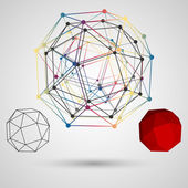 Colorful frame of the polygon with points at the vertices on a light background Abstract geometric concept on the subject of science Composition for your design