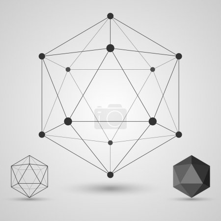 Illustration for Frame volumetric geometric shapes with edges and vertices. Geometric scientific concept. Vector illustration. - Royalty Free Image