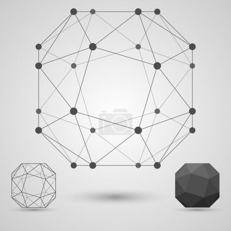 Illustration for The structure of the blank geometric shapes with edges and vertices. Business research concept. Vector illustration. - Royalty Free Image