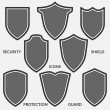 Set of shield icons. Monochrome security signs iso...