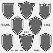 Set of shield icons Monochrome security signs isolated on white background