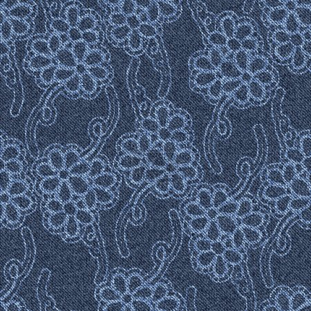 Seamless jeans background with white floral pattern.