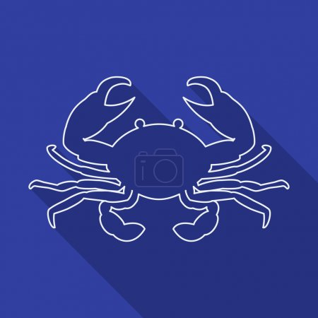 Icon Contour crab. Flat style, long shadows.