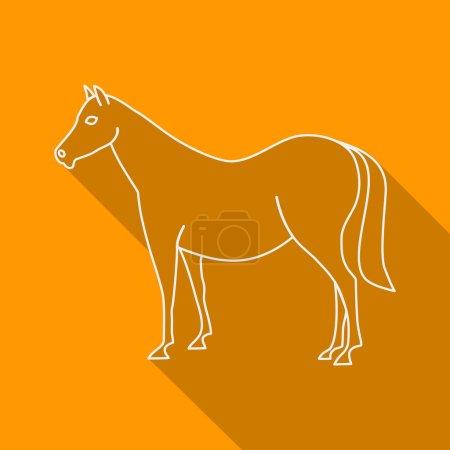 Icon Contour horse. Flat style, long shadows.