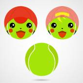Character tennis ball Cute laughing boy and a girl