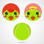 Character tennis ball Cute laughing little boy and girl in the Japanese anime style Vector illustration