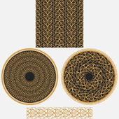 A set ornaments in oriental styleIt includes seamless square pattern two circular mandala and patterned brush