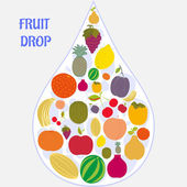 Flat fruit icons collected in the form of a drop