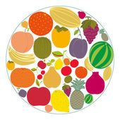 Flat fruit icons gathered in a circle