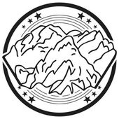 The element of the logo with the mountains The round shape monochrome color