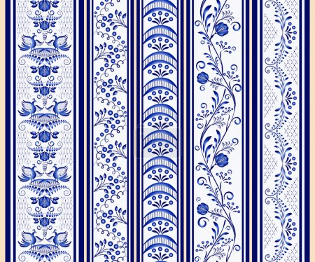 Set of seamless vertical borders in the ethnic style of painting on porcelain.