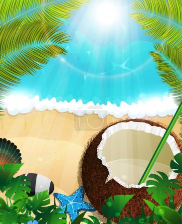 Illustration for Sandy coast and foaming waves with palm branches, coconut cocktail and  starfishes - Royalty Free Image