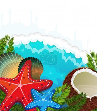 Illustration for Foaming waves with palm branches, coconut cocktail and  starfishes - Royalty Free Image