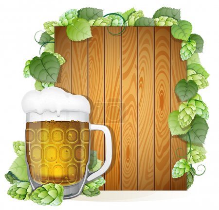 Illustration for Glass of beer with foam cap on a wooden background decorated with green hops branch. Abstract Oktoberfest background - Royalty Free Image