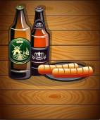 Two bottles of beer and sausages on a wooden background Abstract Oktoberfest  background