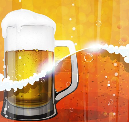 Illustration for Mug of beer with foam and bubbles. Oktoberfest abstract background - Royalty Free Image