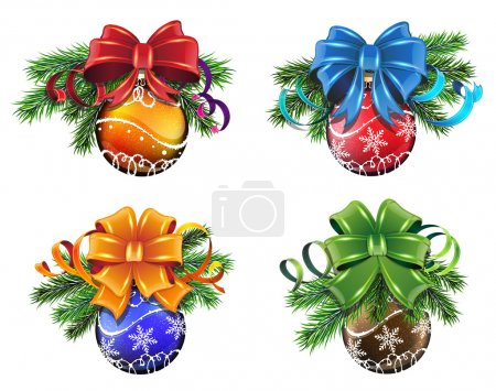 Illustration for Set of Christmas decorations with pine branches, cones and bows on white background - Royalty Free Image