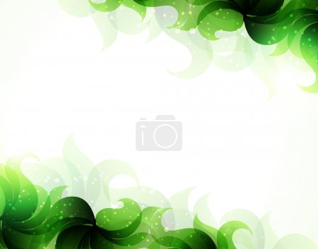 Illustration for Transparent green petals on a white background. Abstract background with place for text - Royalty Free Image
