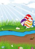 Easter eggs near the creek