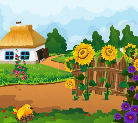 Illustration for Rural landscape with a small house with a thatched roof. Wooden fence with flowers and a chick in a nest in the foreground - Royalty Free Image