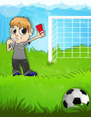 Referee shows a red card