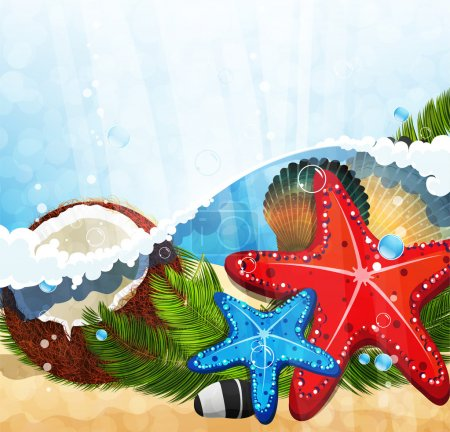 Illustration for Foaming waves with palm branches, coconut and starfishes - Royalty Free Image