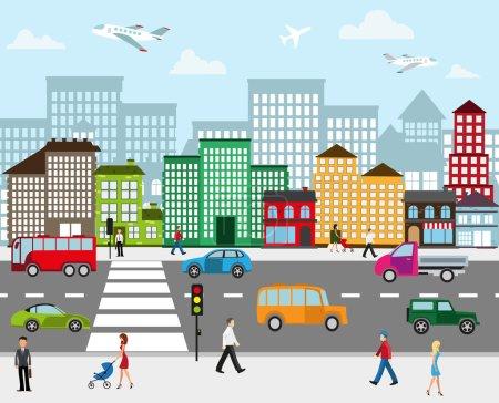 Illustration pour Paysage urbain. Vue de la rue de la ville avec bâtiments industriels et centres commerciaux. Route avec circulation automobile et piétons sur le trottoir au premier plan - image libre de droit