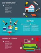 Architecture construction interior design conceptual backgrounds with icons and infographic elements
