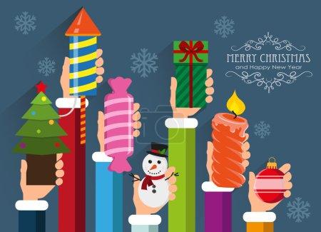 Photo pour Mains tenant des symboles et des cadeaux de Noël et du Nouvel An. Contexte conceptuel pour le web design et les flyers - image libre de droit