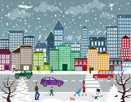 Illustration for Winter Christmas urban landscape. View of city street with industrial buildings and shopping centers. Roadway with car traffic and pedestrians on the sidewalk in the foreground - Royalty Free Image