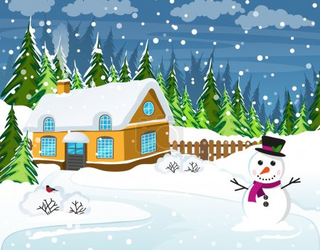Illustration for Snow-covered house and snowman in the foreground. Winter rural landscape - Royalty Free Image
