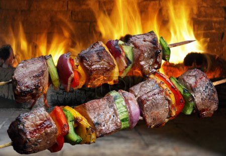 Delicious Kebabs with vegetables