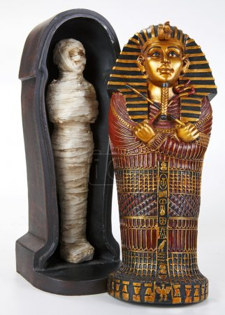 Souvenir toy sarcophagus with little mummy , isola...