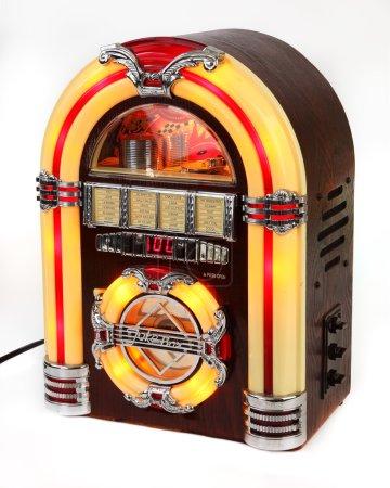 Retro, wooden, colorful jukebox