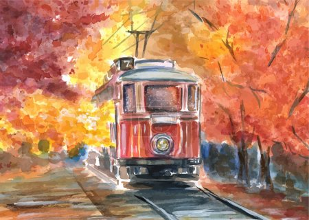 Illustration for Hand drawn watercolor illustration of old tram in sketch style - Royalty Free Image