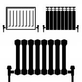 central heating radiators black symbols