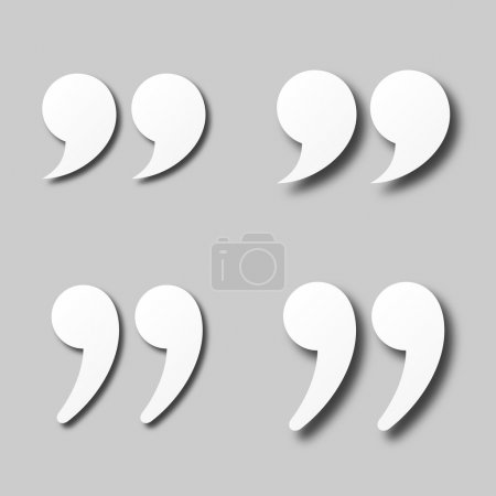 blank white paper quotation marks