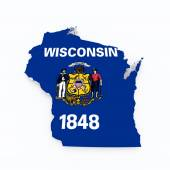 Wisconsin state flag on 3d map