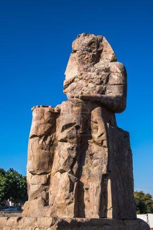Closeup of the Colossus of Memnon, massive stone s...