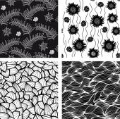 Set of four seamless black and white wave and floral patterns Can be used for wallpaper pattern fills web page background surface textures