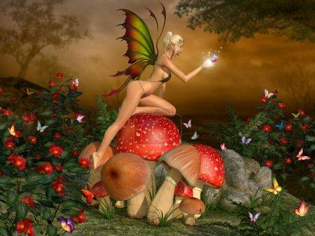 Elven beautiful woman in fairytale forest