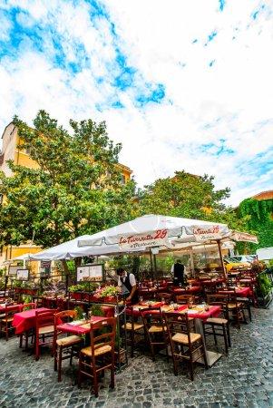 Cozy old streets in Trastevere in may 2021, Rome, ...