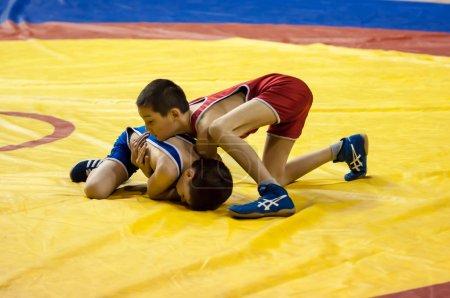 The boys compete in Greco-Roman wrestling, Orenburg, Russia