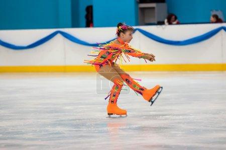 Girl figure skater in singles skating, Orenburg, Russia