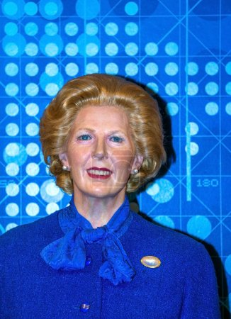 Prime Minister Margaret Thatcher at the London Madame Tussauds wax museum. Marie Tussaud was born as Marie Grosholtz in 1761