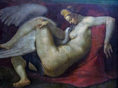 Leda and the Swan(after 1530) by after Michelangelo(1475-1564) at the National Gallery of London.