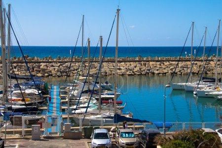 Sailing yachts in Herzliya Marina , Israel.