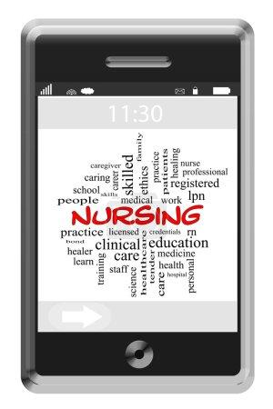Nursing Word Cloud Concept on a Touchscreen Phone