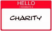 Dobrý den jsem věnoval charitativní červené jméno štítku